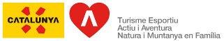 Logo Agència Catalana de Turisme, amb les certificacions de Turisme esportiu, Actiu i Aventura i Natura i Muntanya en família